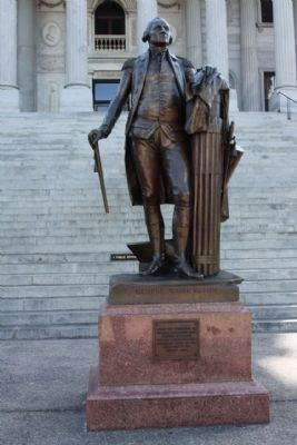 The State House George Washington Statue, north steps reads: Photo, Click for full size