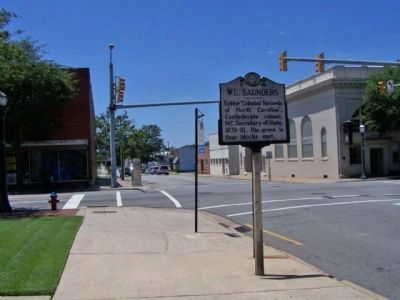 W.L. Saunders Marker at the corner of West St. James Street near Main Street (Business U.S. 64). image. Click for full size.