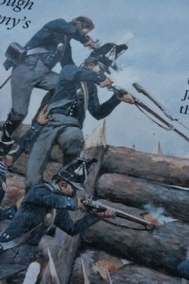 Image of Jackson's men attacking the Red Sticks Barricade. image. Click for full size.