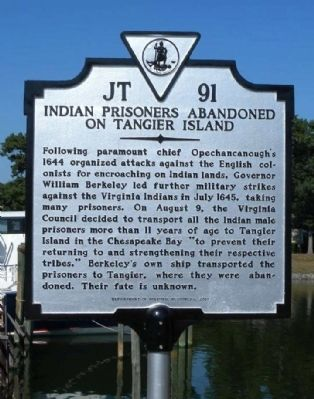 Indian Prisoners Abandoned on Tangier Island Marker image. Click for full size.