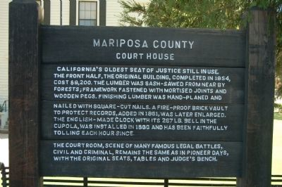Mariposa County Court House Marker image. Click for full size.