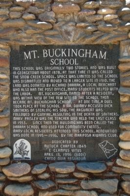 Mt. Buckingham School Marker image. Click for full size.