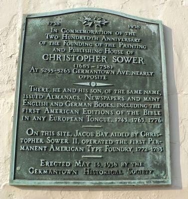 Christopher Sower Historical Marker