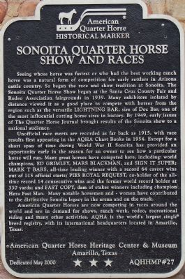 Sonoita Quarter Horse Show and Races Marker image. Click for full size.