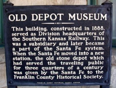 Old Depot Museum Marker image. Click for full size.