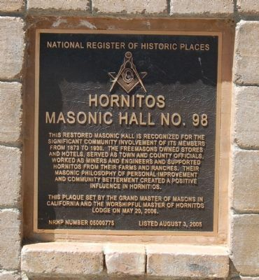 Hornitos Masonic Hall No. 98 Marker image. Click for full size.