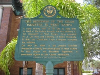 The Beginning of the Cigar Industry in West Tampa Marker image. Click for full size.