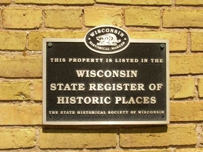Wisconsin State Register of Historic Places plaque image. Click for full size.