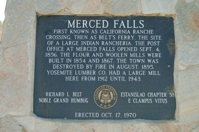 Merced Falls Marker Photo, Click for full size