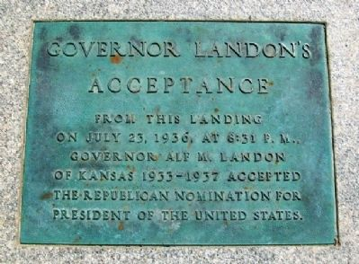 Governor Landon's Acceptance Marker image. Click for full size.