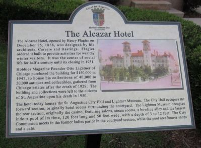 The Alcazar Hotel Marker image. Click for full size.