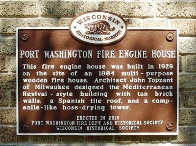 Port Washington Fire Engine House Marker image. Click for full size.