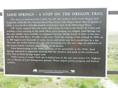 Sand Spring - A Stop on the Oregon Trail Marker image. Click for full size.