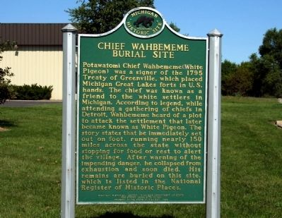 Chief Wahbememe Burial Site Marker image. Click for full size.