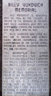 Billy Vukovich Memorial Marker image. Click for full size.