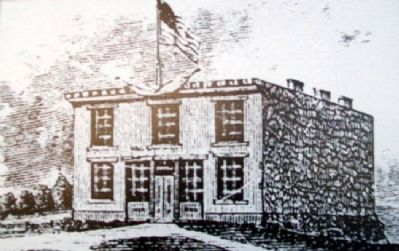Constitution Hall -Topeka Lithograph on Marker image. Click for full size.