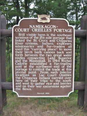 Namekagon - Court Oreilles Portage Marker image. Click for full size.