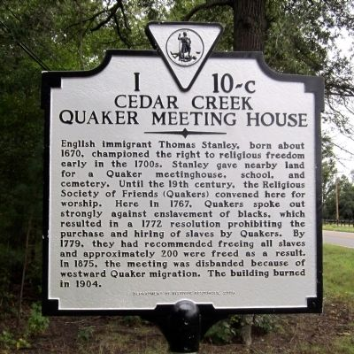 Cedar Creek Quaker Meeting House Marker image. Click for full size.