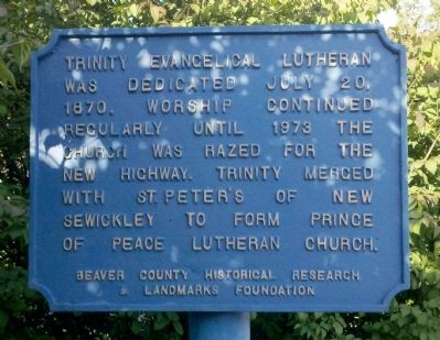 Trinity Evangelical Lutheran Marker image. Click for full size.