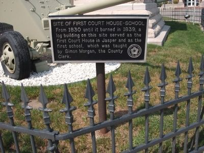 Site of First Court House - School Marker image. Click for full size.