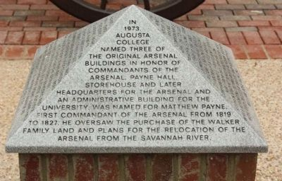 Augusta College Three Original Arsenal Buildings Marker, east face image. Click for full size.