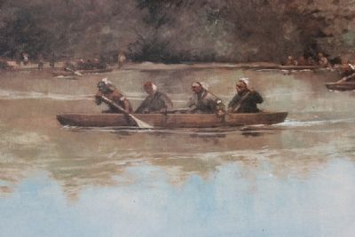 Image of the Indian Allies paddling across the river in the former Red Stick's canoes. image. Click for full size.