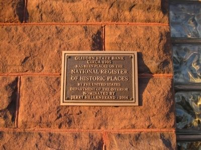 Glidden State Bank Marker Photo, Click for full size