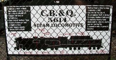 C. B. & Q. 5614 Steam Locomotive Marker image. Click for full size.