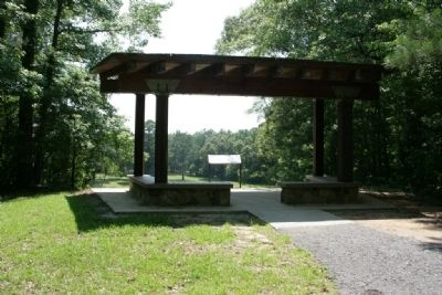 The High Ground Marker and overlook shelter. image. Click for full size.