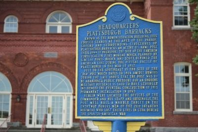 Headquarters Plattsburgh Barracks Marker image. Click for full size.