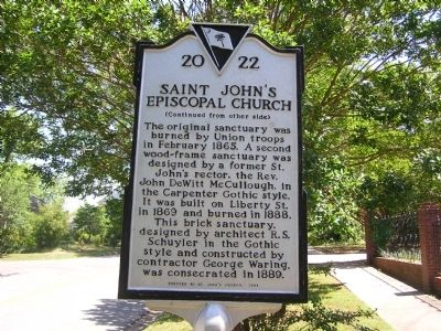 Saint John's Episcopal Church Marker Reverse image. Click for full size.