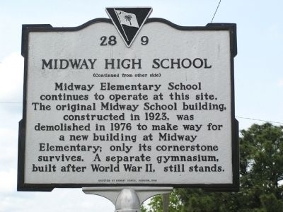 Midway High School Marker Reverse image. Click for full size.