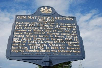 General Matthew B. Ridgway Marker image. Click for full size.