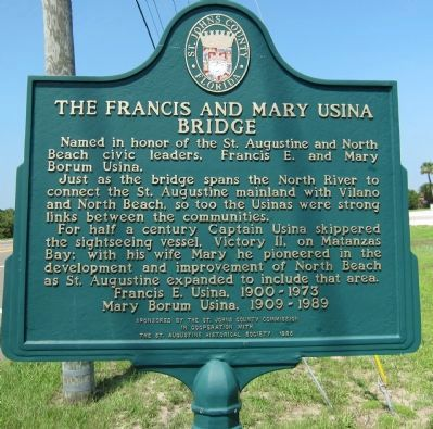 The Francis and Mary Usina Bridge Marker image. Click for full size.
