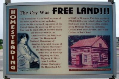 Homesteading: The Cry was Free Land!!! Marker image. Click for full size.