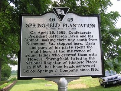 Springfield Plantation Marker Reverse Photo, Click for full size