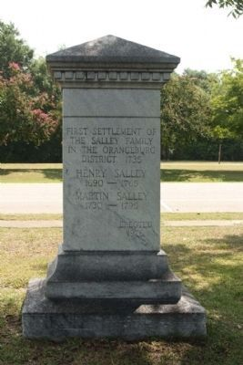 The Salley Family Marker, back side view image. Click for full size.