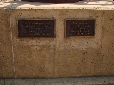 Site of the Haymarket Tragedy plaques on the north side of the monumeny image. Click for full size.