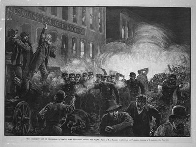 Contemporary Illustration of the Haymarket Riot image. Click for full size.