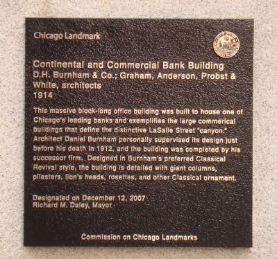 Continental and Commercial Bank Building Marker image. Click for full size.