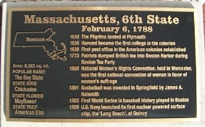 Massachusetts, 6th State Marker Photo, Click for full size