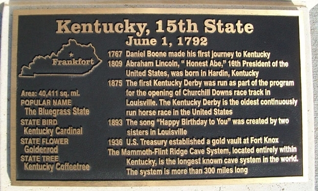 Kentucky, 15th State Marker