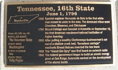 Tennessee, 16th State Marker Photo, Click for full size