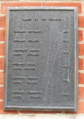 Highland Community College Names Marker image. Click for full size.