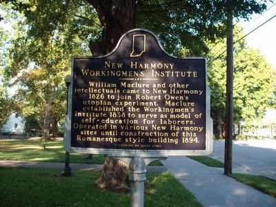 Side 'One' - - New Harmony Workingmen's Institute Marker image. Click for full size.