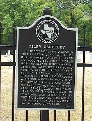 Riley Cemetery Marker image. Click for full size.