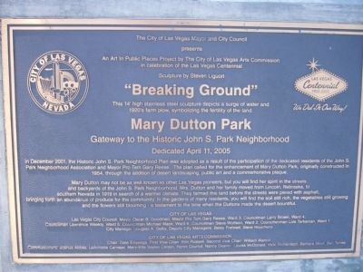 Mary Dutton Park Marker image. Click for full size.