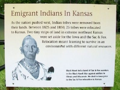 Emigrant Indians In Kansas Marker image. Click for full size.