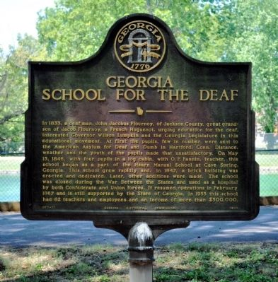 Georgia School for the Deaf Marker image. Click for full size.