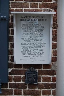 Thomas Bee's House Marker image. Click for full size.